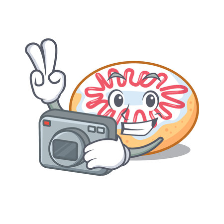 Photographer jelly donut mascot cartoon vector illustration