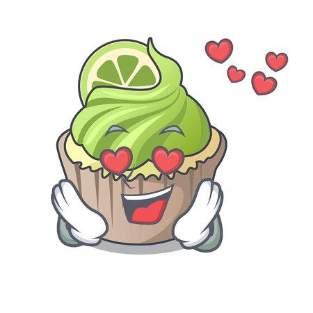 In love lemon cupcake mascot cartoon vector illustration