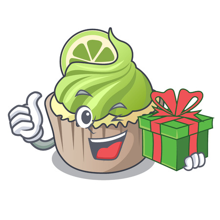 With gift lemon cupcake mascot cartoon vector illustration 矢量图像