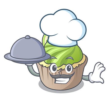 Chef with food lemon cupcake mascot cartoon vector illustration