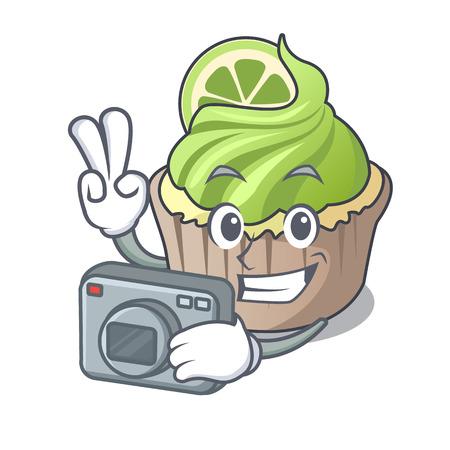 Photographer lemon cupcake mascot cartoon vector illustration