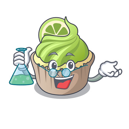 Professor lemon cupcake character cartoon vector illustration