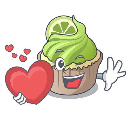 With heart lemon cupcake mascot cartoon vector illustration