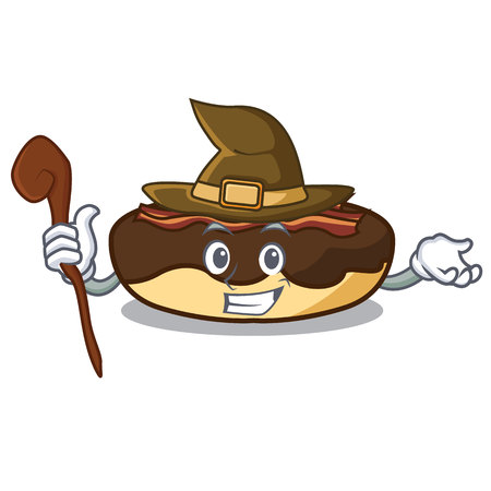 Witch maple bacon bar mascot cartoon vector illustration Illustration