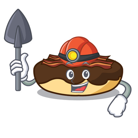 Miner maple bacon bar mascot cartoon vector illustration Standard-Bild - 102495460