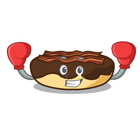 Boxing maple bacon bar character cartoon vector illustration