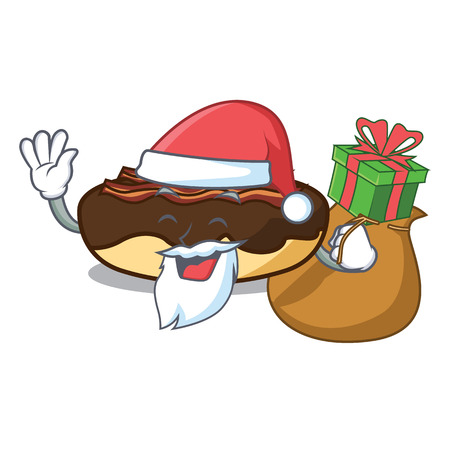 Santa con il regalo maple bacon bar mascotte cartoon illustrazione vettoriale