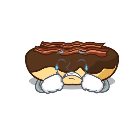 Crying maple bacon bar mascot cartoon vector illustration Ilustração
