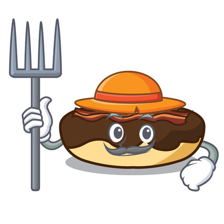 Farmer maple bacon bar character cartoon vector illustration