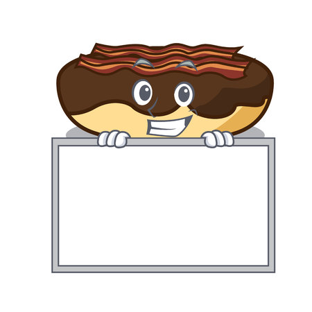 Grinning with board maple bacon bar character cartoon vector illustration