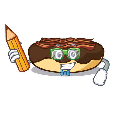 Student maple bacon bar character cartoon vector illustration Illustration