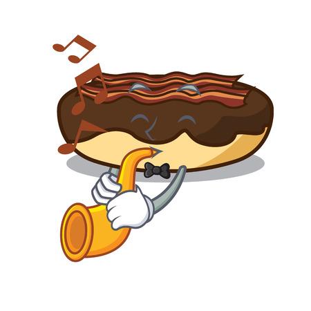 Met trompet esdoorn bacon bar mascotte cartoon vectorillustratie
