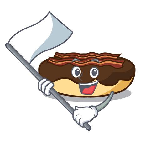 With flag maple bacon bar mascot cartoon vector illustration Illustration