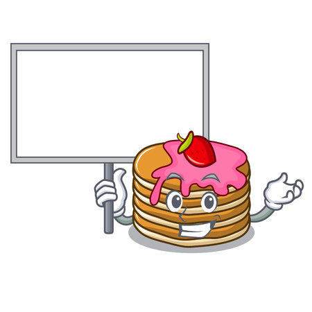 Bring board pancake with strawberry character cartoon vector illustration