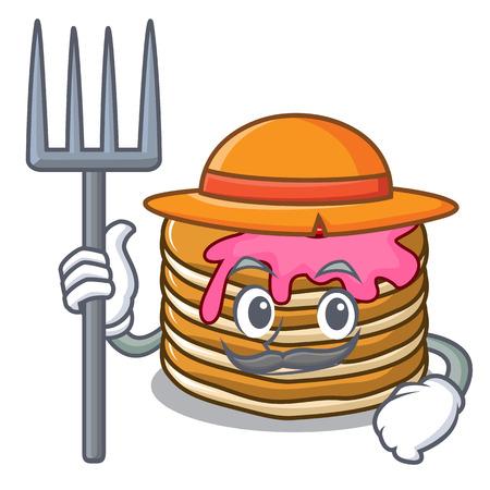 Farmer pancake with strawberry character cartoon vector illustration