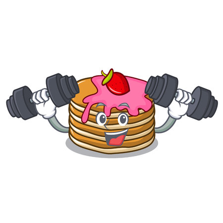 Fitness pancake with strawberry character cartoon vector illustration