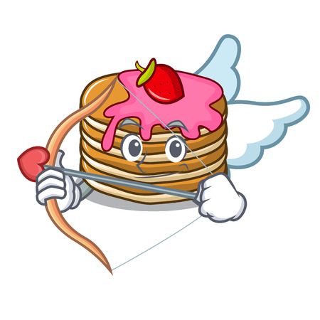 Cupid pancake with strawberry character cartoon vector illustration