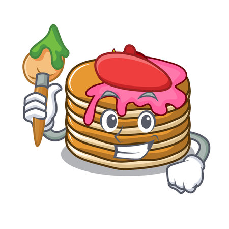 Artist pancake with strawberry character cartoon vector illustration