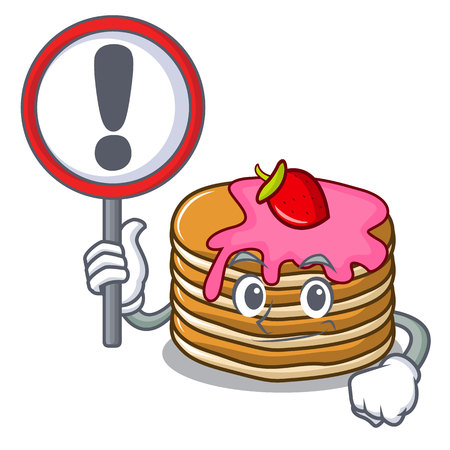sign pancake with strawberry character cartoon vector illustration