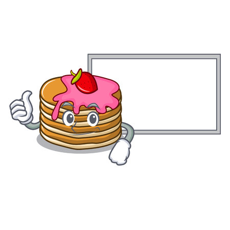 Thumbs up with board pancake with strawberry character cartoon vector illustration