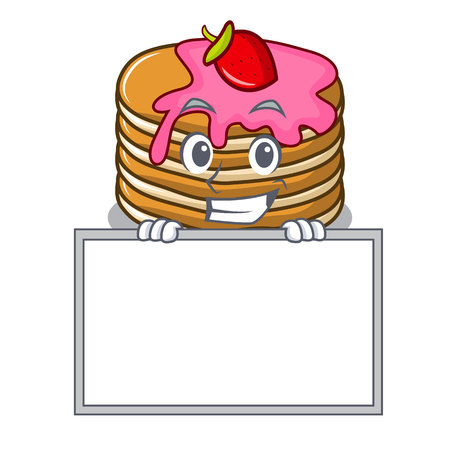 Grinning with board pancake with strawberry character cartoon vector illustration