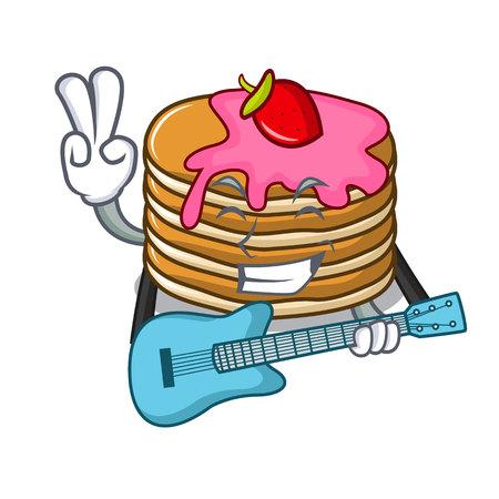 guitar pancake with strawberry mascot cartoon vector illustration