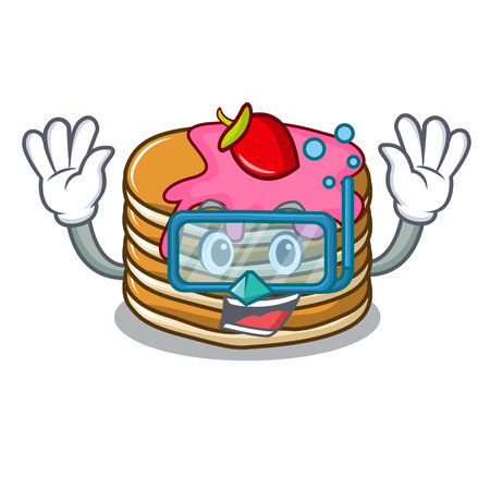 Diving pancake with strawberry character cartoon vector illustration