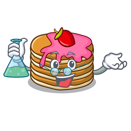 Professor pancake with strawberry character cartoon vector illustration