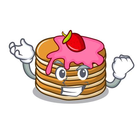 Successful pancake with strawberry character cartoon vector illustration Standard-Bild - 102520891