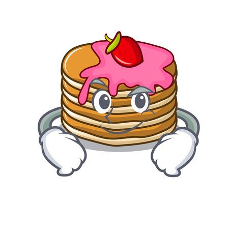 Smirking pancake with strawberry character cartoon vector illustration Standard-Bild - 102520893