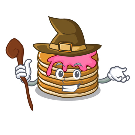 Witch pancake with strawberry mascot cartoon vector illustration Illustration