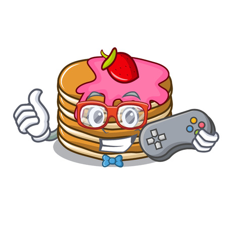 Gamer pancake with strawberry mascot cartoon vector illustration Standard-Bild - 102520831