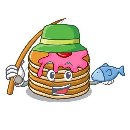 Fishing pancake with strawberry mascot cartoon vector illustration Illustration