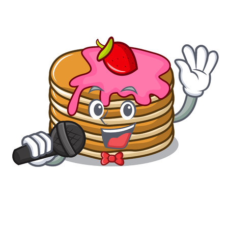 Singing pancake with strawberry mascot cartoon vector illustration