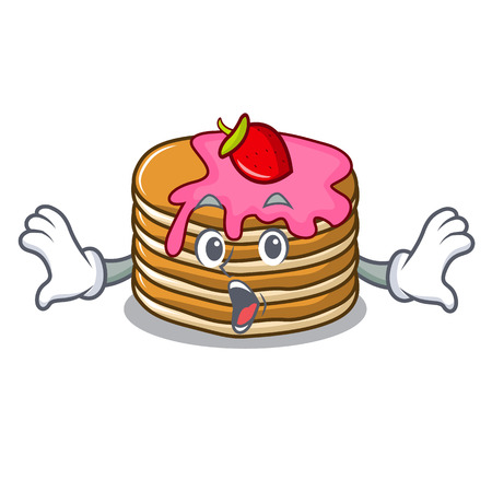 Surprised pancake with strawberry mascot cartoon vector illustration Standard-Bild - 102520836
