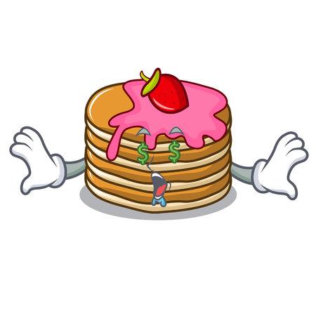 Money eye pancake with strawberry mascot cartoon vector illustration