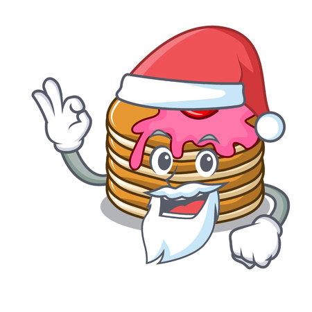 Santa pancake with strawberry mascot cartoon vector illustration
