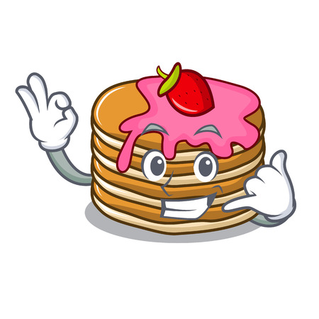 Call me pancake with strawberry mascot cartoon vector illustration