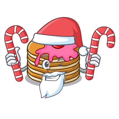 Santa with candy pancake with strawberry mascot cartoon vector illustration Standard-Bild - 102520841