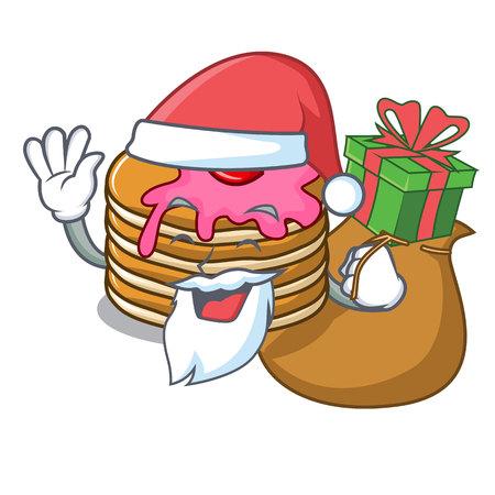 Santa with gift pancake with strawberry mascot cartoon vector illustration Illustration