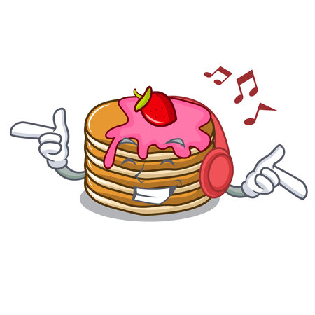 Listening music pancake with strawberry mascot cartoon vector illustration