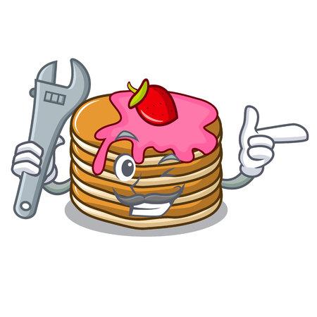 Mechanic pancake with strawberry mascot cartoon vector illustration Illustration