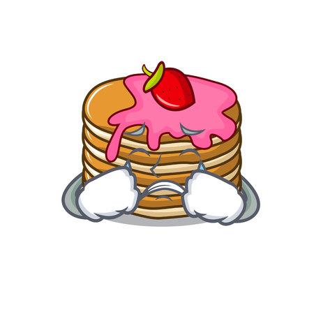 Crying pancake with strawberry mascot cartoon vector illustration