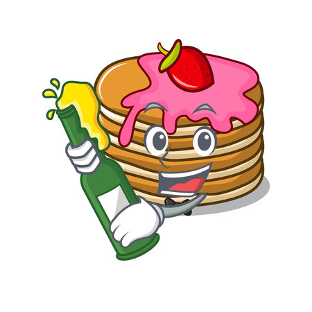 With beer pancake with strawberry mascot cartoon vector illustration Standard-Bild - 102520848