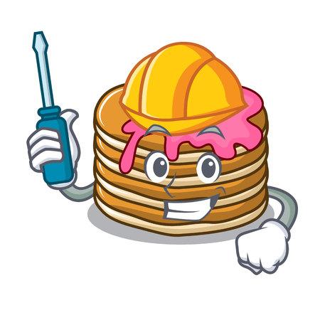 Automotive pancake with strawberry mascot cartoon vector illustration