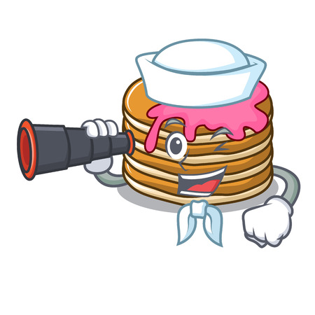 Sailor with binocular pancake with strawberry mascot cartoon vector illustration Illustration