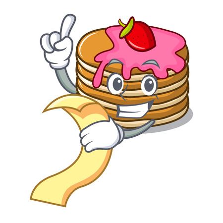 With menu pancake with strawberry mascot cartoon vector illustration