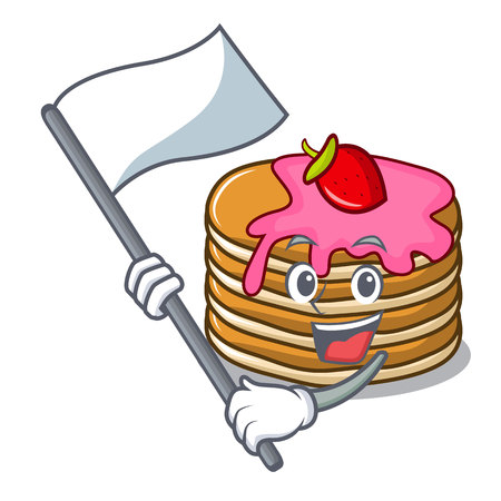With flag pancake with strawberry mascot cartoon vector illustration