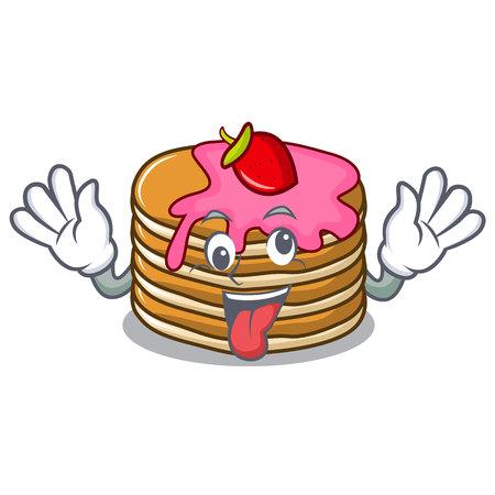 Crazy pancake with strawberry mascot cartoon vector illustration