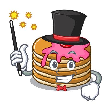 Magician pancake with strawberry mascot cartoon vector illustration Illustration
